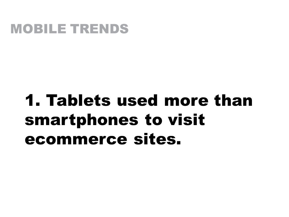 MOBILE TRENDS 1. Tablets used more than smartphones to visit ecommerce sites.
