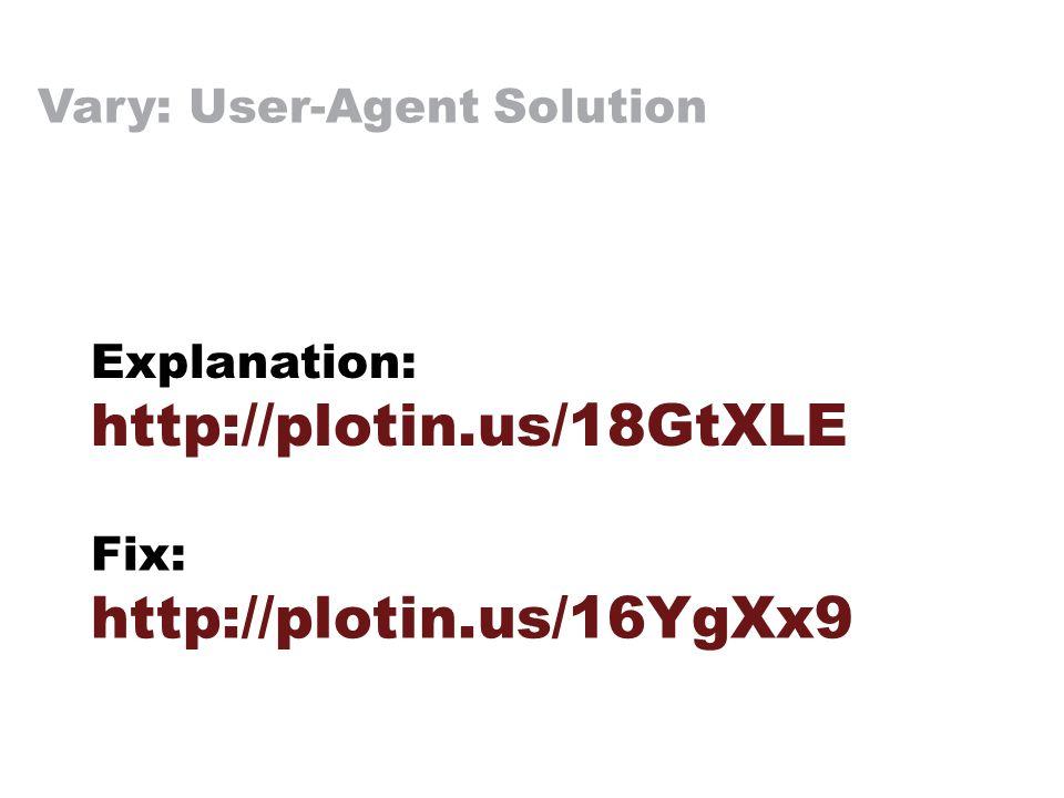 Vary: User-Agent Solution Explanation: http://plotin.us/18GtXLE Fix: http://plotin.us/16YgXx9