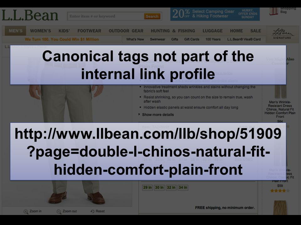 http://www.llbean.com/llb/shop/51909 ?page=double-l-chinos-natural-fit- hidden-comfort-plain-front Canonical tags not part of the internal link profile