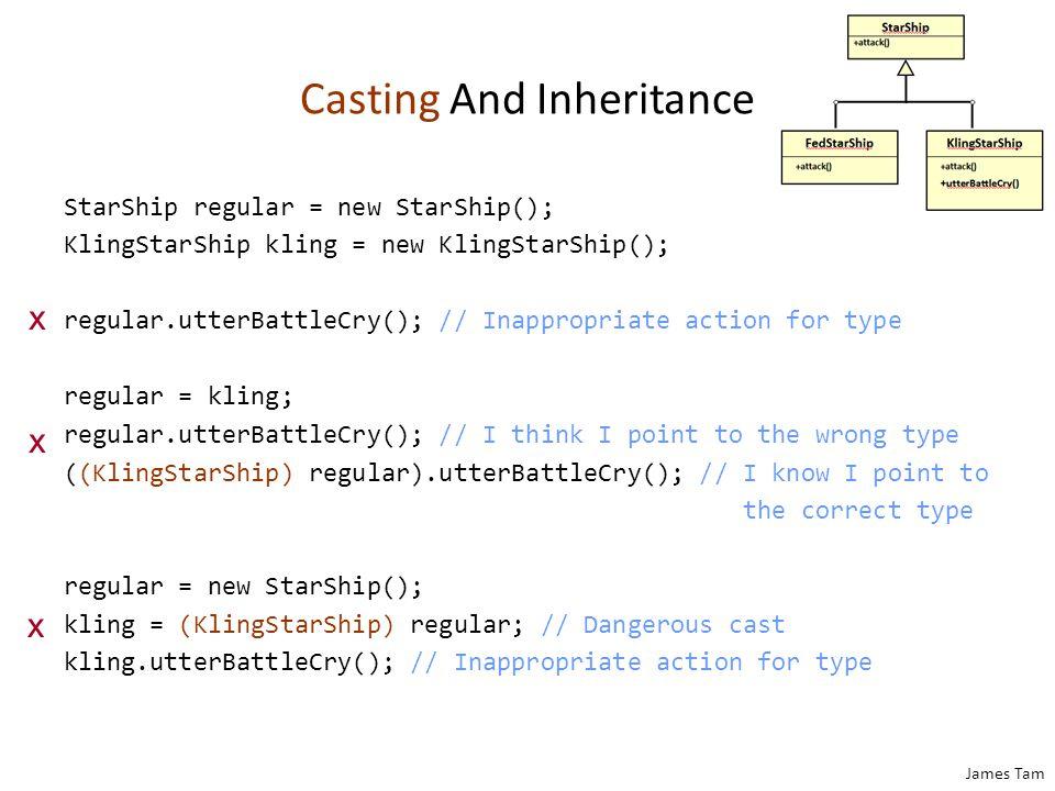 James Tam Casting And Inheritance StarShip regular = new StarShip(); KlingStarShip kling = new KlingStarShip(); regular.utterBattleCry(); // Inappropr
