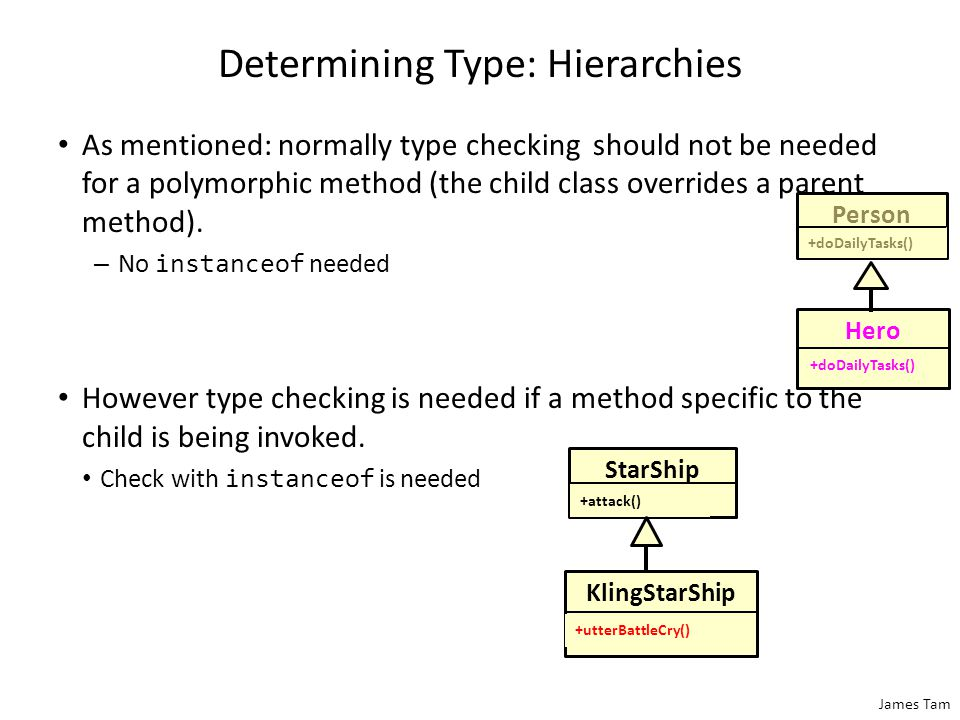 James Tam Determining Type: Hierarchies As mentioned: normally type checking should not be needed for a polymorphic method (the child class overrides a parent method).