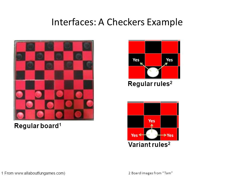 """Interfaces: A Checkers Example Regular board 1 1 From www.allaboutfungames.com) Variant rules 2 Regular rules 2 2 Board images from """"Tam"""""""