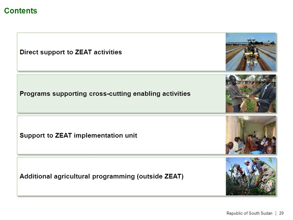 Republic of South Sudan | 29 Contents Direct support to ZEAT activities Programs supporting cross-cutting enabling activities Support to ZEAT implementation unit Additional agricultural programming (outside ZEAT)