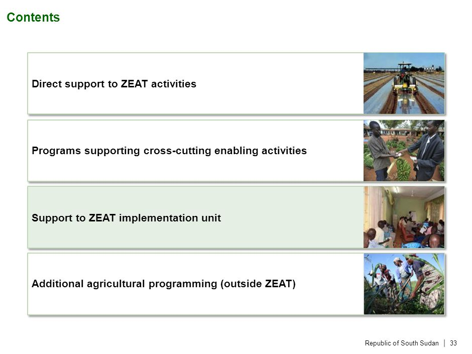 Republic of South Sudan | 33 Contents Direct support to ZEAT activities Programs supporting cross-cutting enabling activities Support to ZEAT implementation unit Additional agricultural programming (outside ZEAT)