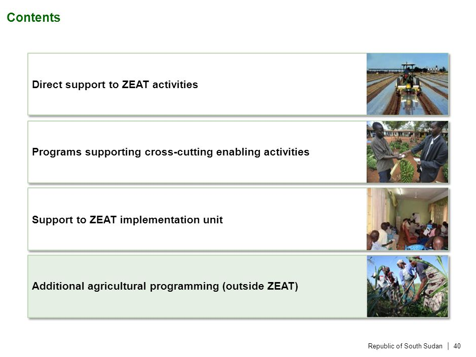 Republic of South Sudan | 40 Contents Direct support to ZEAT activities Programs supporting cross-cutting enabling activities Support to ZEAT implementation unit Additional agricultural programming (outside ZEAT)