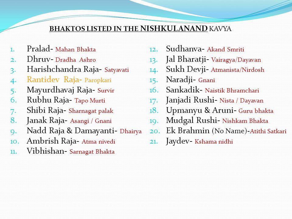 1. Pralad- Mahan Bhakta 2. Dhruv- Dradha Ashro 3. Harishchandra Raja- Satyavati 4. Rantidev Raja- Paropkari 5. Mayurdhavaj Raja- Survir 6. Rubhu Raja-