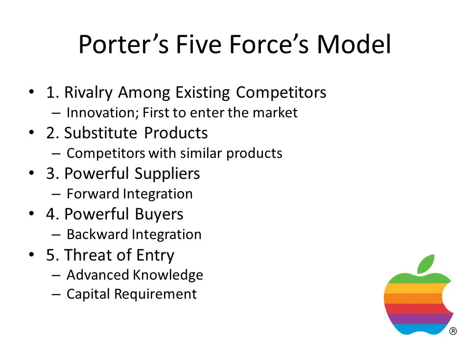 Porter's Five Force's Model 1. Rivalry Among Existing Competitors – Innovation; First to enter the market 2. Substitute Products – Competitors with si