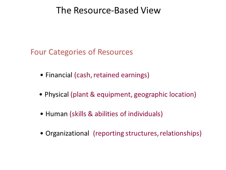 The Resource-Based View Four Categories of Resources Financial (cash, retained earnings) Physical (plant & equipment, geographic location) Human (skil