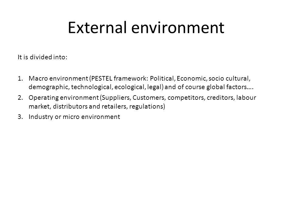 External environment It is divided into: 1.Macro environment (PESTEL framework: Political, Economic, socio cultural, demographic, technological, ecolo