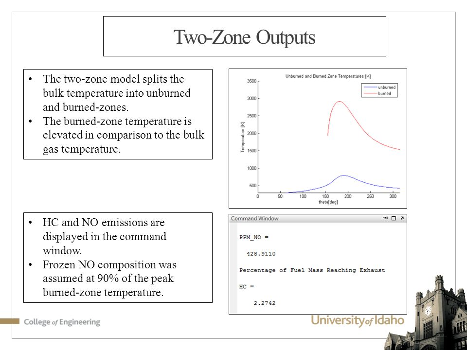 Two-Zone Outputs The two-zone model splits the bulk temperature into unburned and burned-zones.