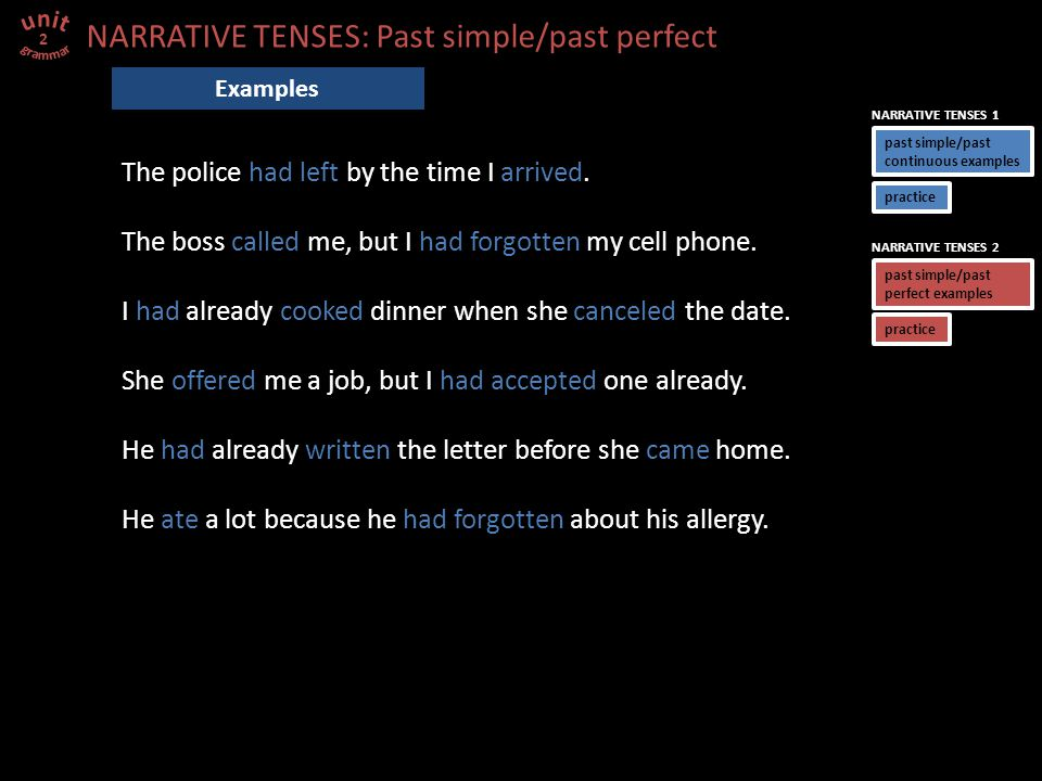 NARRATIVE TENSES: Past simple/past perfect The police had left by the time I arrived. The boss called me, but I had forgotten my cell phone. I had alr