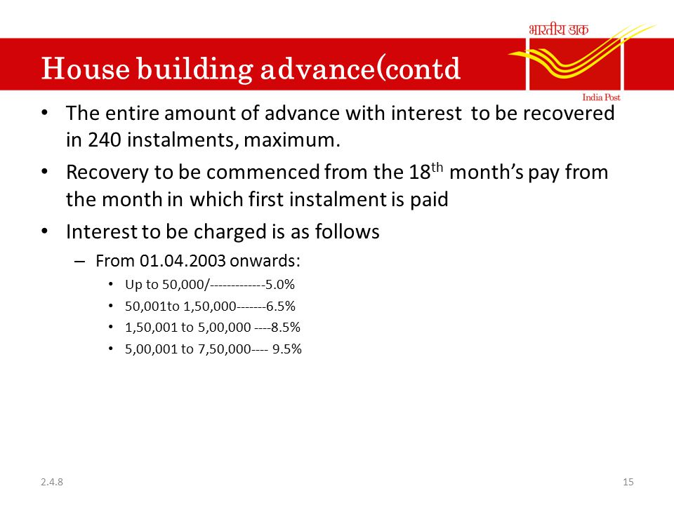 House building advance(contd The entire amount of advance with interest to be recovered in 240 instalments, maximum. Recovery to be commenced from the