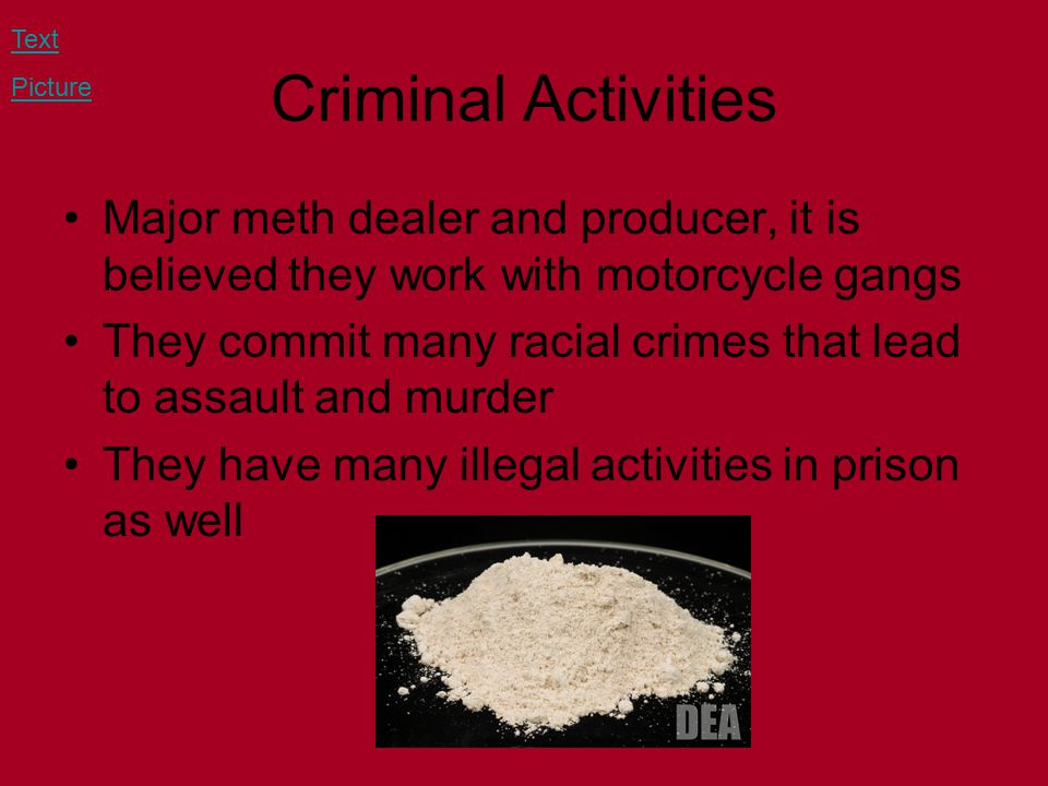 Criminal Activities Major meth dealer and producer, it is believed they work with motorcycle gangs They commit many racial crimes that lead to assault