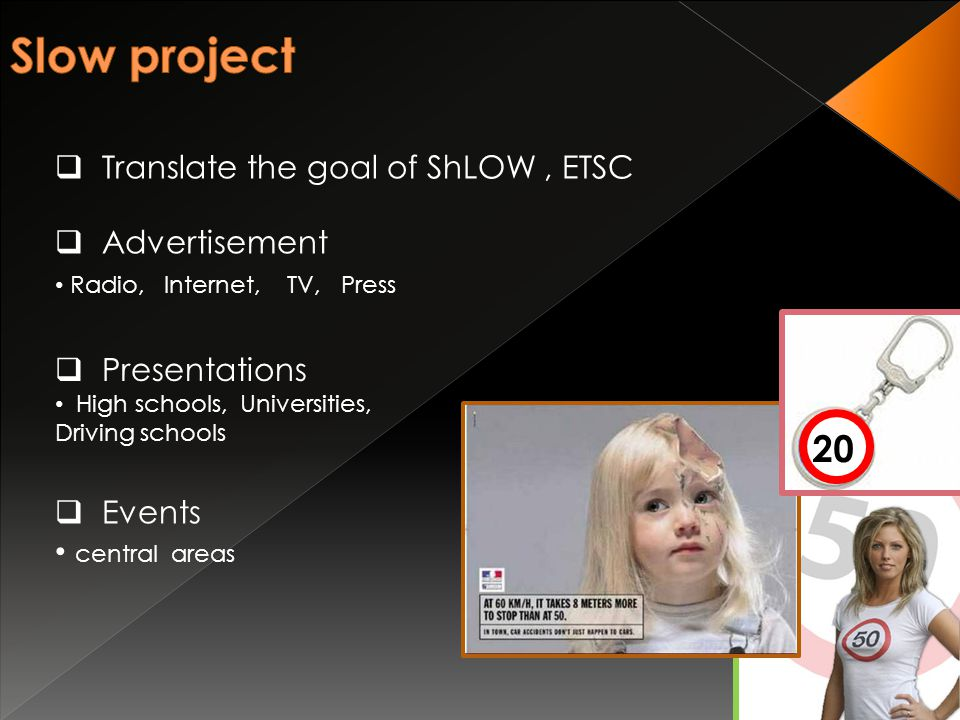  Translate the goal of ShLOW, ETSC  Advertisement Radio, Internet, TV, Press 20  Presentations High schools, Universities, Driving schools  Events central areas