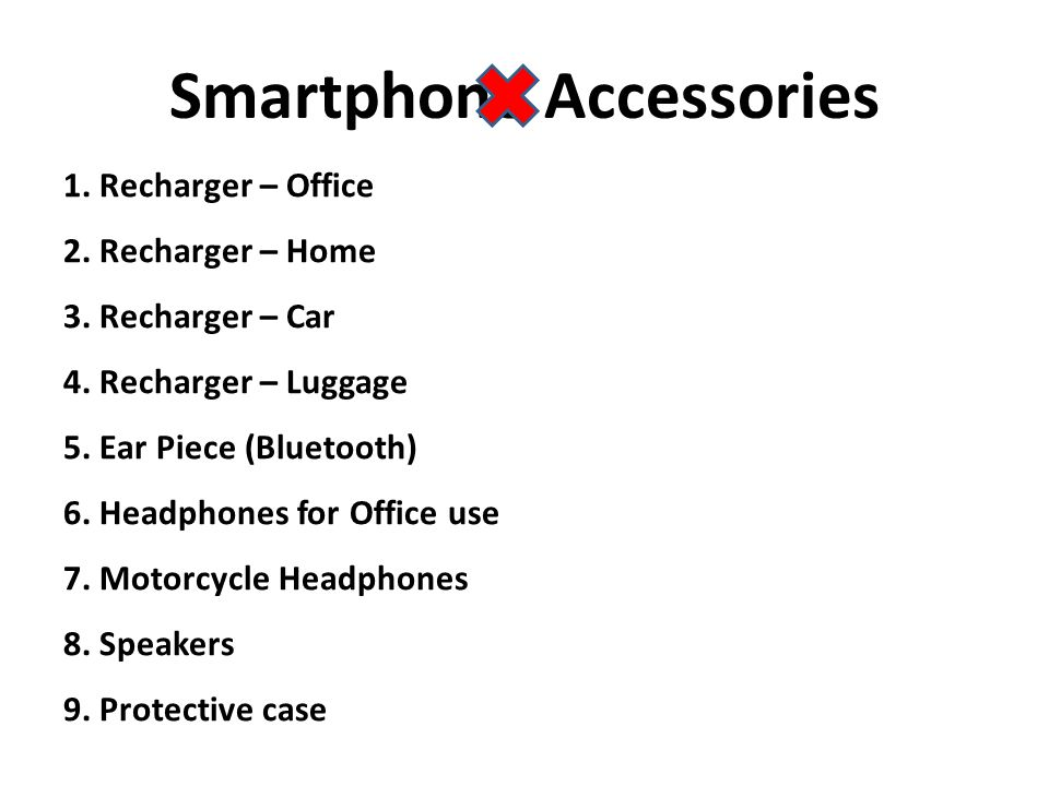 1. Recharger – Office 2. Recharger – Home 3. Recharger – Car 4.