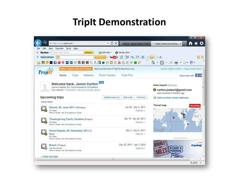 TripIt Demonstration