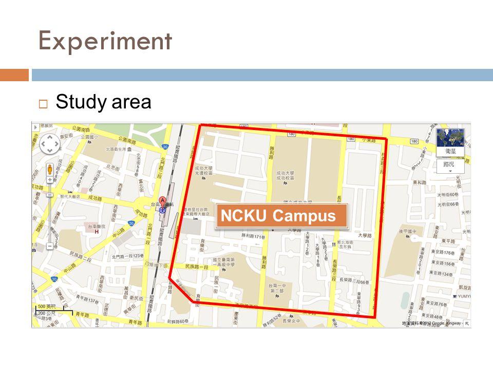 Experiment  Study area NCKU Campus