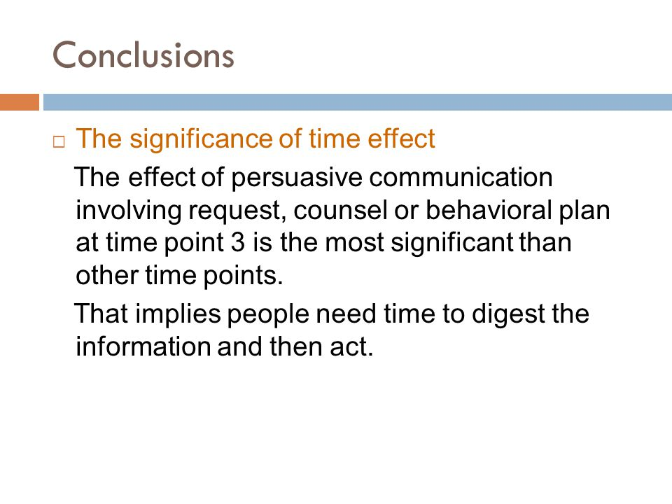Conclusions  The significance of time effect The effect of persuasive communication involving request, counsel or behavioral plan at time point 3 is the most significant than other time points.