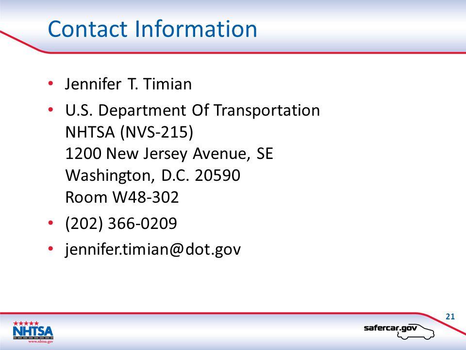 Contact Information Jennifer T. Timian U.S.