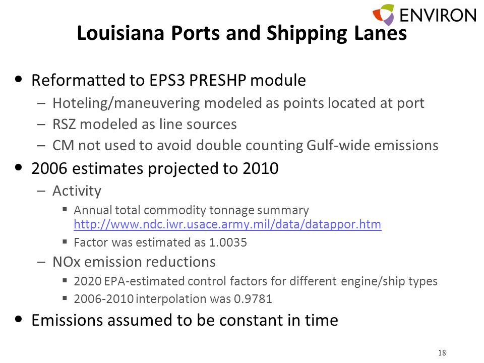 Louisiana Ports and Shipping Lanes Reformatted to EPS3 PRESHP module –Hoteling/maneuvering modeled as points located at port –RSZ modeled as line sources –CM not used to avoid double counting Gulf-wide emissions 2006 estimates projected to 2010 –Activity  Annual total commodity tonnage summary http://www.ndc.iwr.usace.army.mil/data/datappor.htm http://www.ndc.iwr.usace.army.mil/data/datappor.htm  Factor was estimated as 1.0035 –NOx emission reductions  2020 EPA-estimated control factors for different engine/ship types  2006-2010 interpolation was 0.9781 Emissions assumed to be constant in time 18