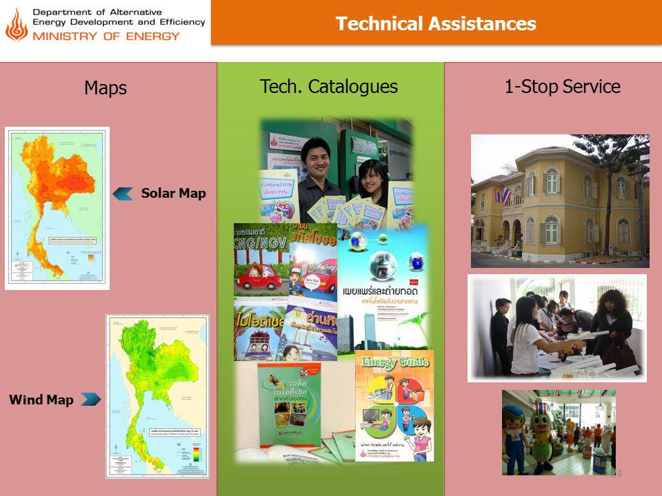 24 Technical Assistances Maps Tech. Catalogues 1-Stop Service Solar Map Wind Map