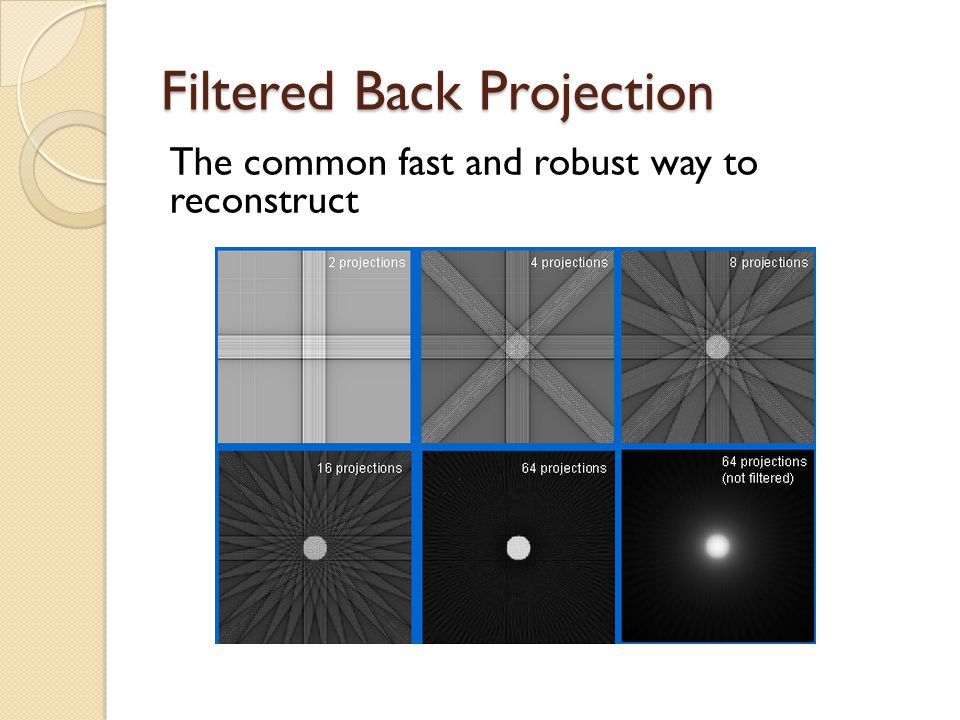 Filtered Back Projection The common fast and robust way to reconstruct