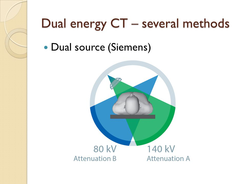 Dual energy CT – several methods Dual source (Siemens)