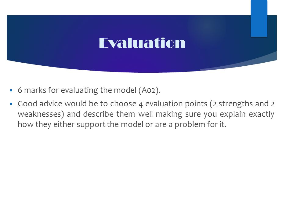Evaluation  6 marks for evaluating the model (A02).