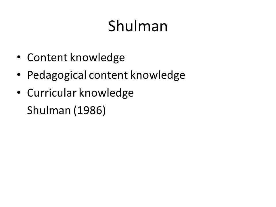 Shulman Content knowledge Pedagogical content knowledge Curricular knowledge Shulman (1986)