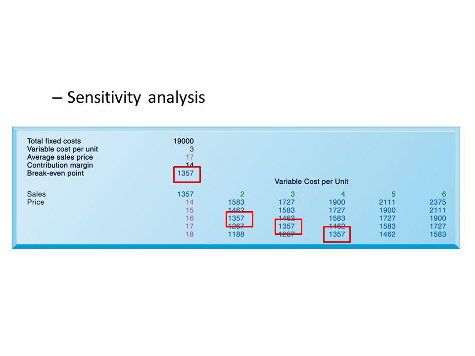 – Sensitivity analysis