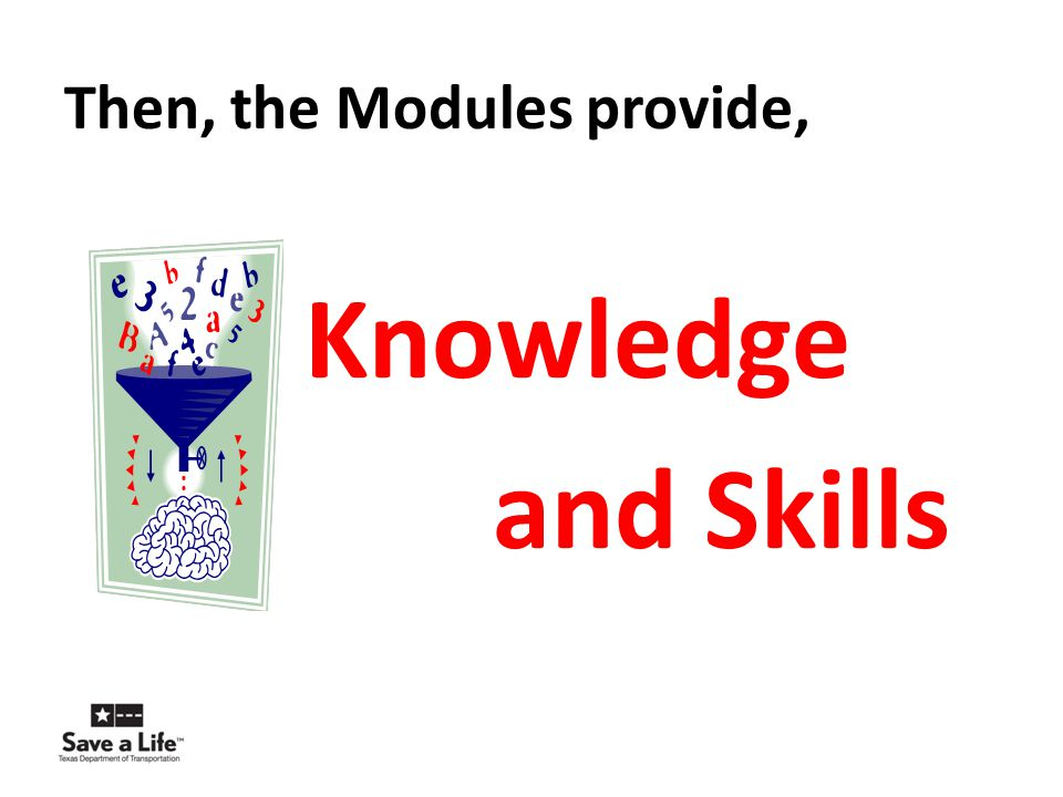 Then, the Modules provide, Knowledge and Skills
