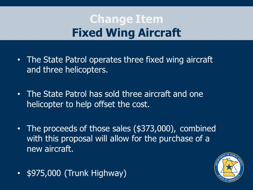 Change Item Fixed Wing Aircraft The State Patrol operates three fixed wing aircraft and three helicopters. The State Patrol has sold three aircraft an