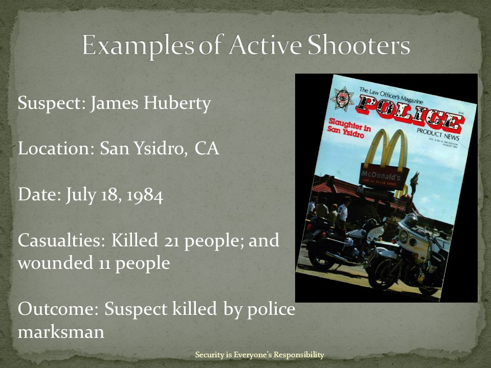 Security is Everyone s Responsibility Suspect: James Huberty Location: San Ysidro, CA Date: July 18, 1984 Casualties: Killed 21 people; and wounded 11 people Outcome: Suspect killed by police marksman