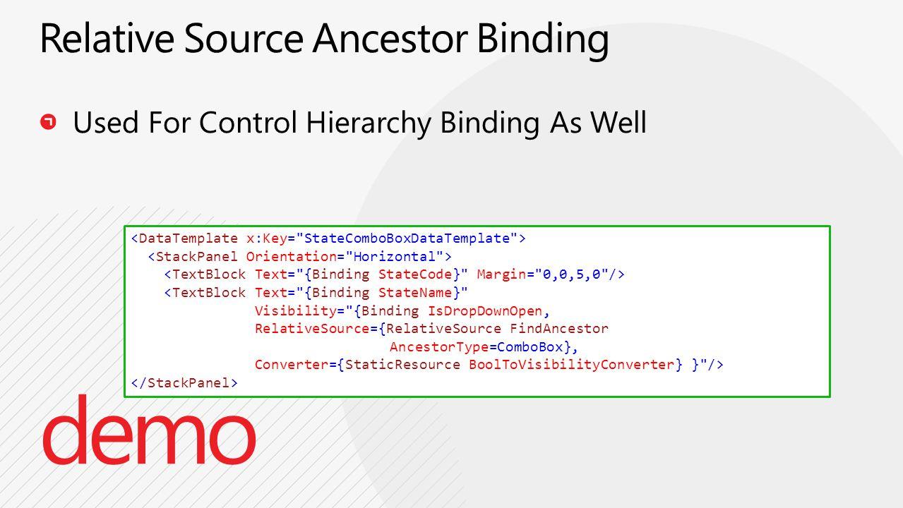 <TextBlock Text= {Binding StateName} Visibility= {Binding IsDropDownOpen, RelativeSource={RelativeSource FindAncestor AncestorType=ComboBox}, Converter={StaticResource BoolToVisibilityConverter} } />