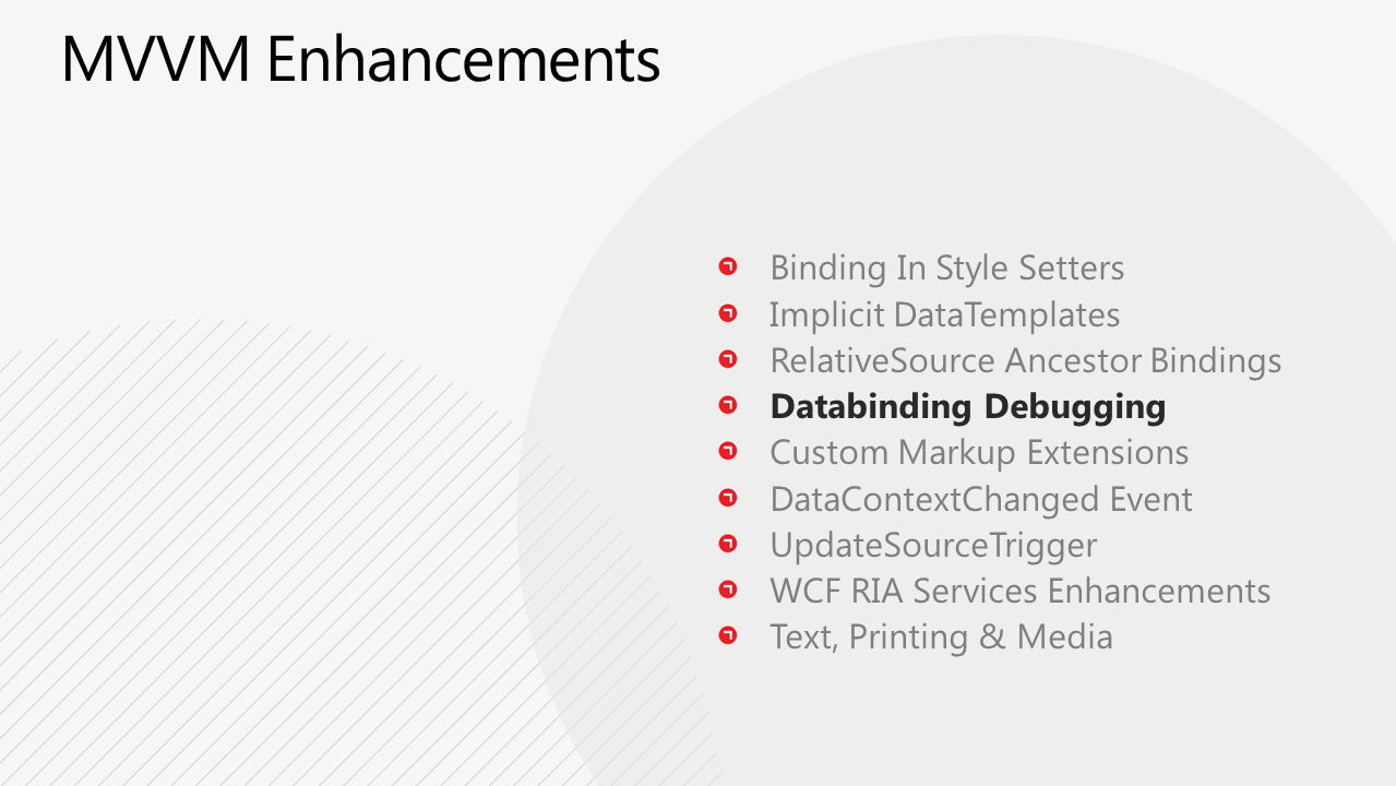 Binding In Style Setters Implicit DataTemplates RelativeSource Ancestor Bindings Databinding Debugging Custom Markup Extensions DataContextChanged Event UpdateSourceTrigger WCF RIA Services Enhancements Text, Printing & Media