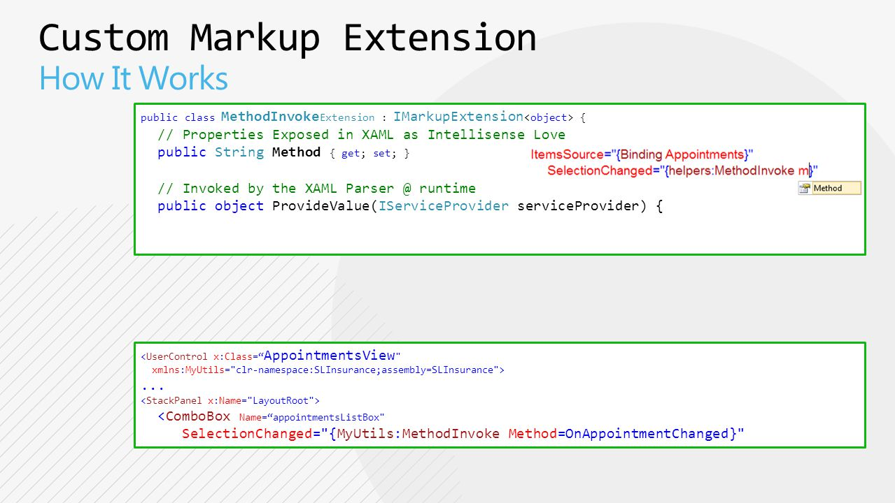 public class MethodInvoke Extension : IMarkupExtension { // Properties Exposed in XAML as Intellisense Love public String Method { get; set; } // Invoked by the XAML Parser @ runtime public object ProvideValue(IServiceProvider serviceProvider) { <UserControl x:Class= AppointmentsView xmlns:MyUtils= clr-namespace:SLInsurance;assembly=SLInsurance >...
