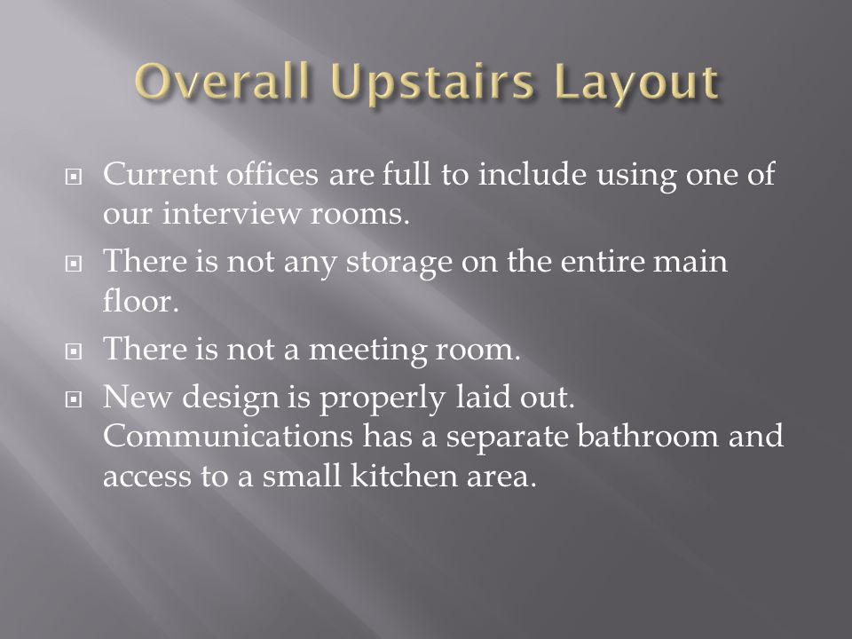  Current offices are full to include using one of our interview rooms.  There is not any storage on the entire main floor.  There is not a meeting
