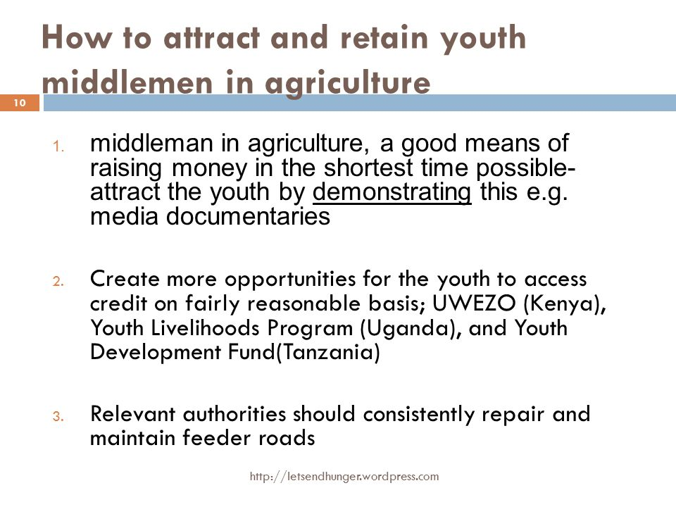 How to attract and retain youth middlemen in agriculture 1.