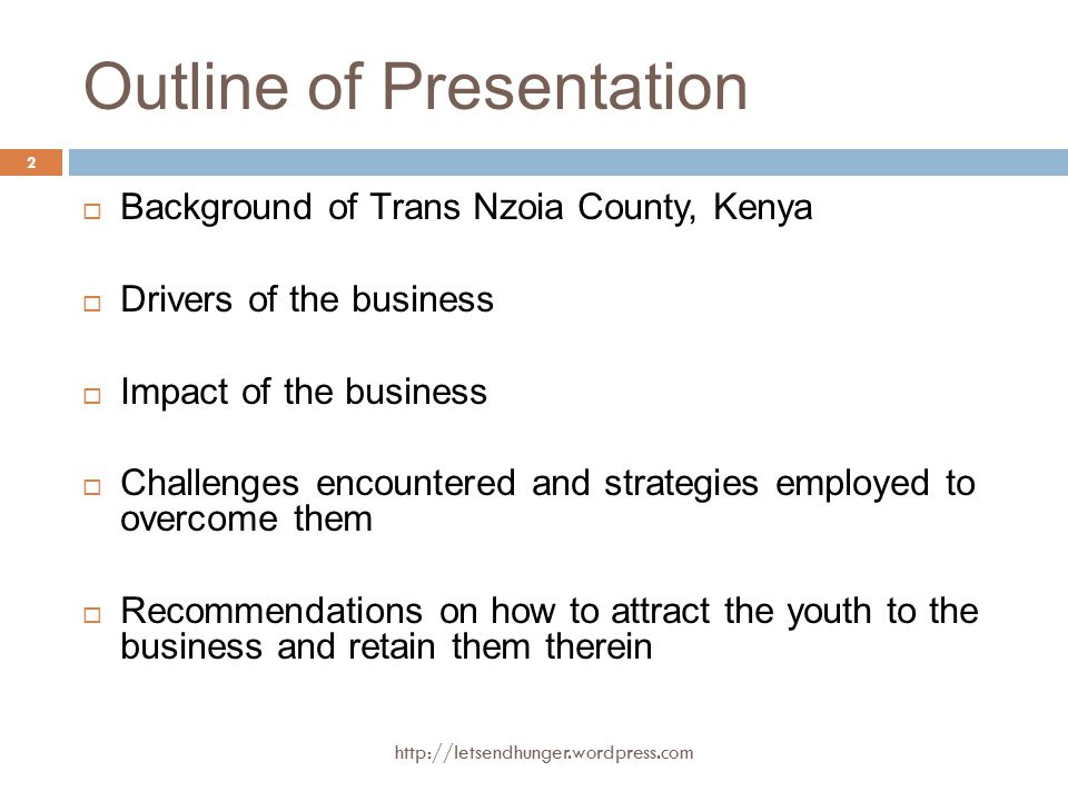 Background of Trans Nzoia County  High agricultural production zone; maize is the main crop grown; 2012, Kenya produced 38 M bags of maize in total.