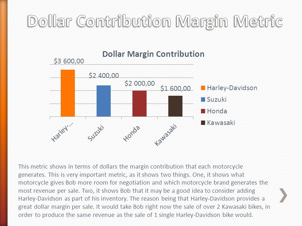 This metric shows in terms of dollars the margin contribution that each motorcycle generates.