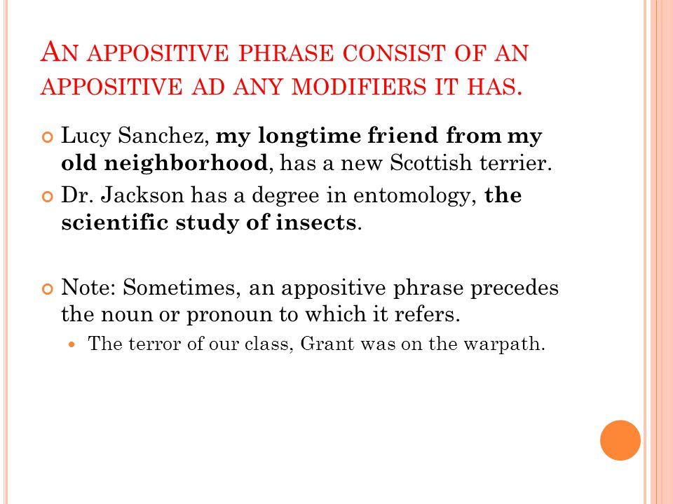 A N APPOSITIVE PHRASE CONSIST OF AN APPOSITIVE AD ANY MODIFIERS IT HAS.