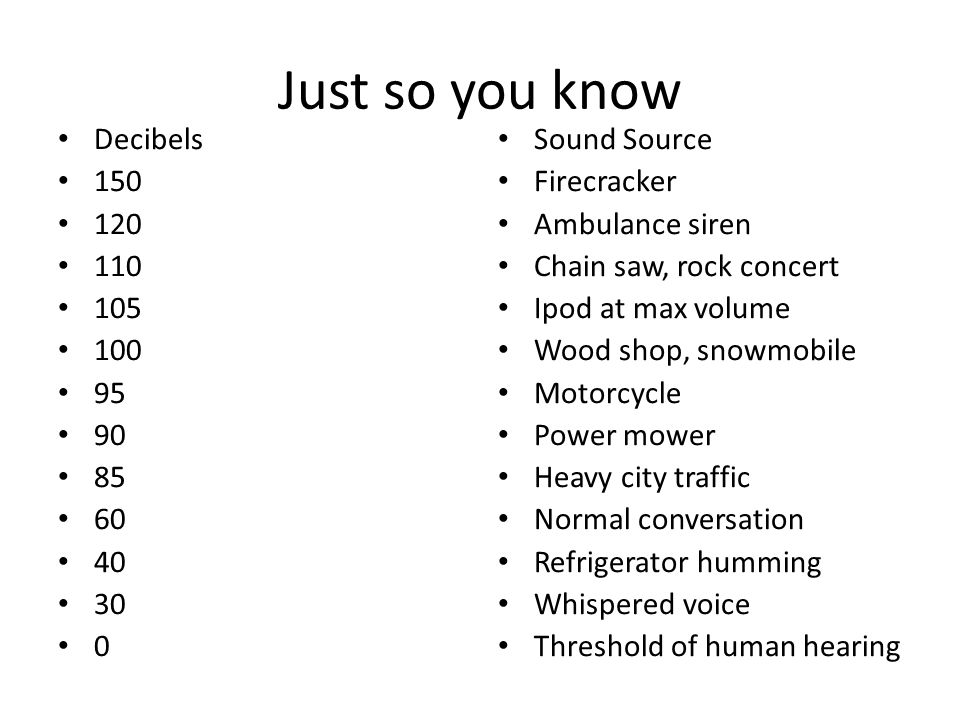 Just so you know Decibels 150 120 110 105 100 95 90 85 60 40 30 0 Sound Source Firecracker Ambulance siren Chain saw, rock concert Ipod at max volume Wood shop, snowmobile Motorcycle Power mower Heavy city traffic Normal conversation Refrigerator humming Whispered voice Threshold of human hearing