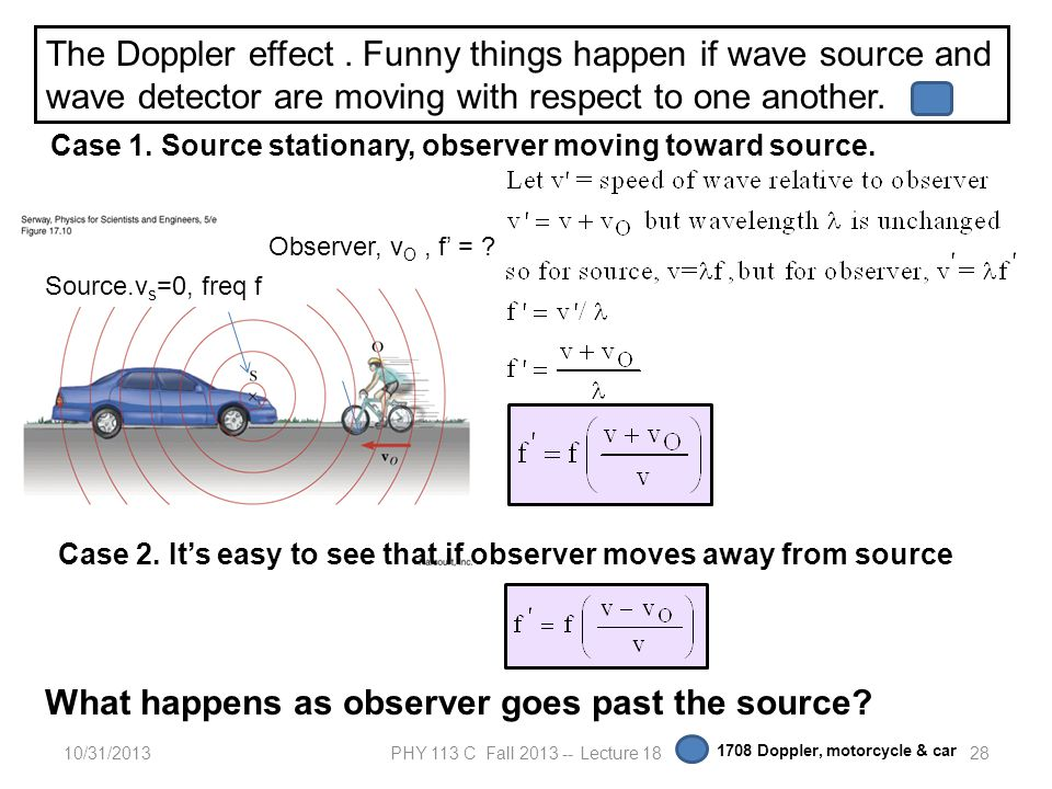 10/31/2013PHY 113 C Fall 2013 -- Lecture 1828 The Doppler effect. Funny things happen if wave source and wave detector are moving with respect to one