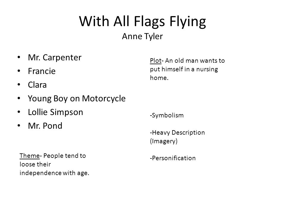 With All Flags Flying Anne Tyler Mr.