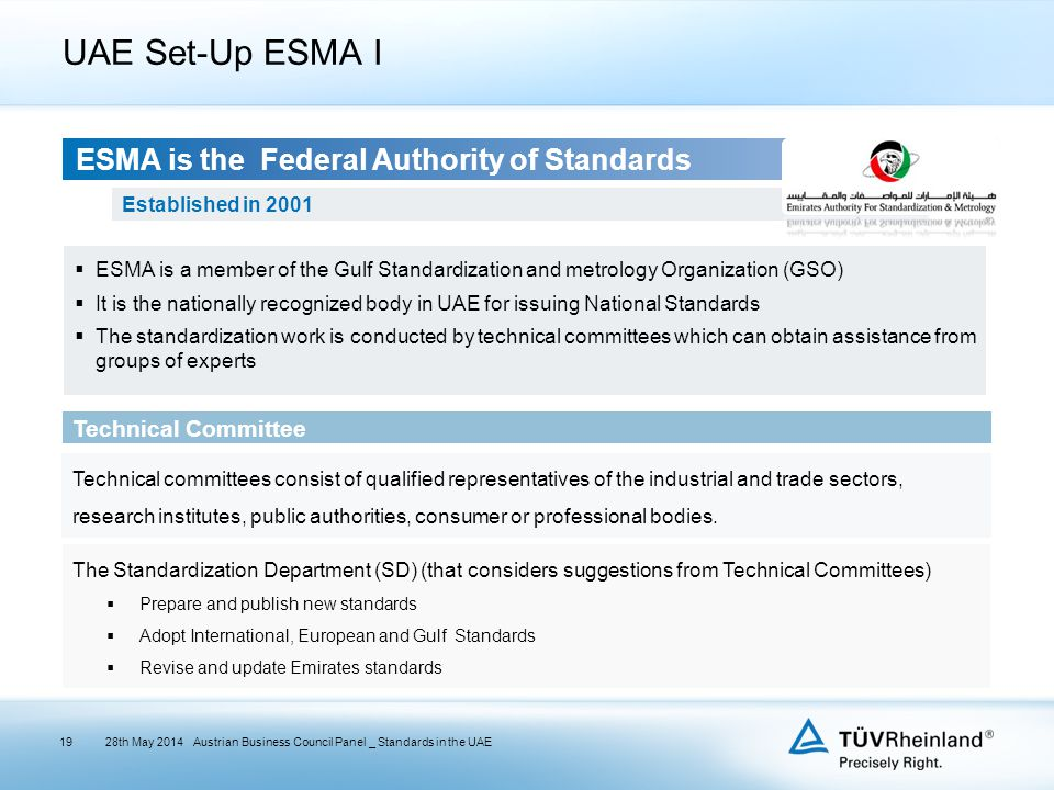Emirates Authority For Standardization and Metrology UAE Set-Up ESMA I 28th May 2014Austrian Business Council Panel _ Standards in the UAE ESMA is the