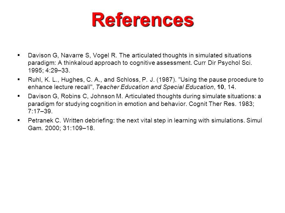 References  Davison G, Navarre S, Vogel R.