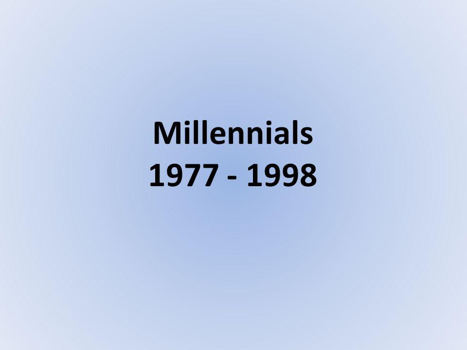 Millennials 1977 - 1998