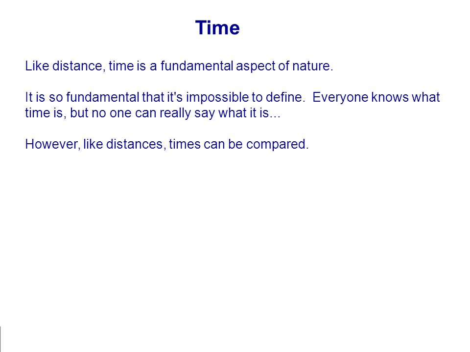 Time Like distance, time is a fundamental aspect of nature.