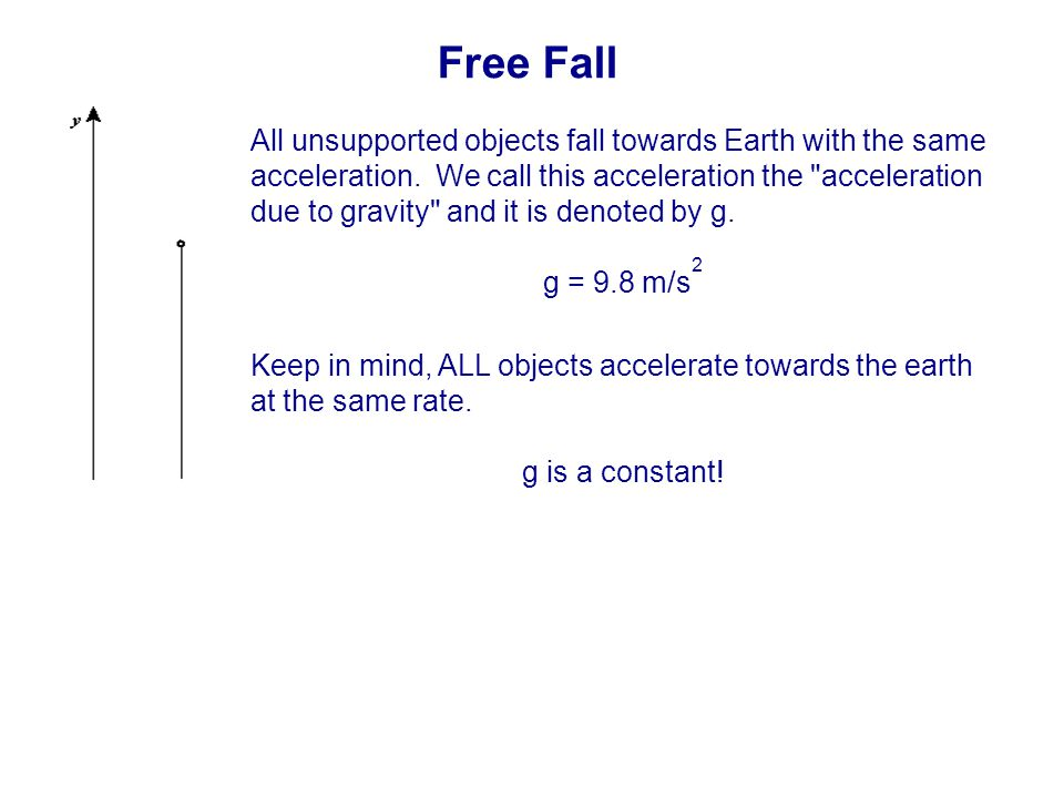 Free Fall All unsupported objects fall towards Earth with the same acceleration.