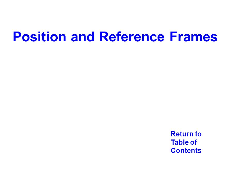 Return to Table of Contents Position and Reference Frames